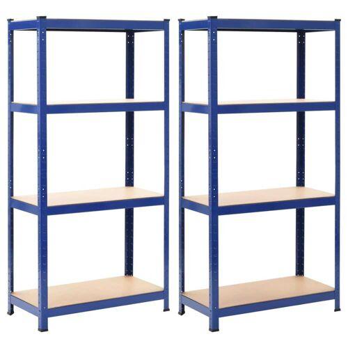vidaXL Opbergrekken 2 st 80x40x160 cm staal en MDF blauw