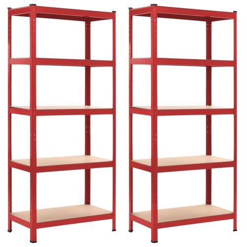vidaXL Opbergrekken 2 st 80x40x180 cm staal en MDF rood