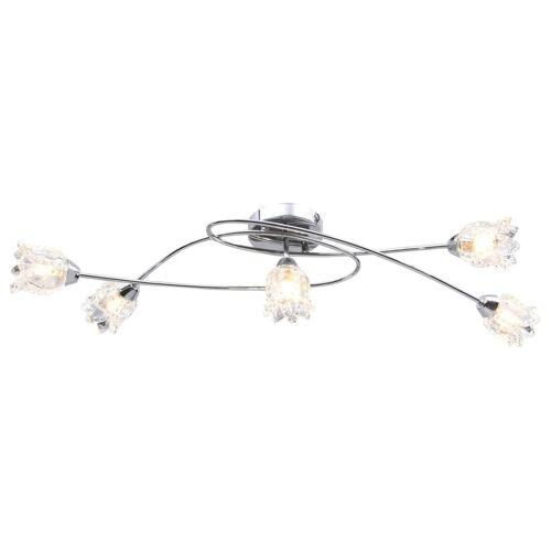 vidaXL Plafondlamp met glazen bloem lampenkappen voor 5 x G9 peertjes