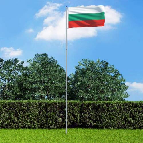 vidaXL Vlag met vlaggenmast Bulgarije 6 m aluminium