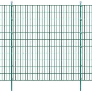 vidaXL Dubbelstaafmatten en palen 2008x2230 mm 50 m groen