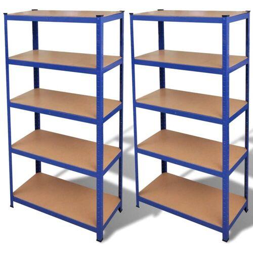 vidaXL Opbergrekken 2 st blauw