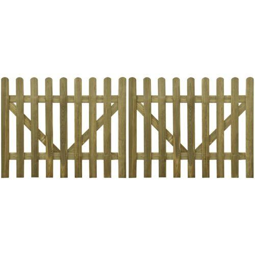 vidaXL Poorten 2 st 300x120 cm geïmpregneerd hout
