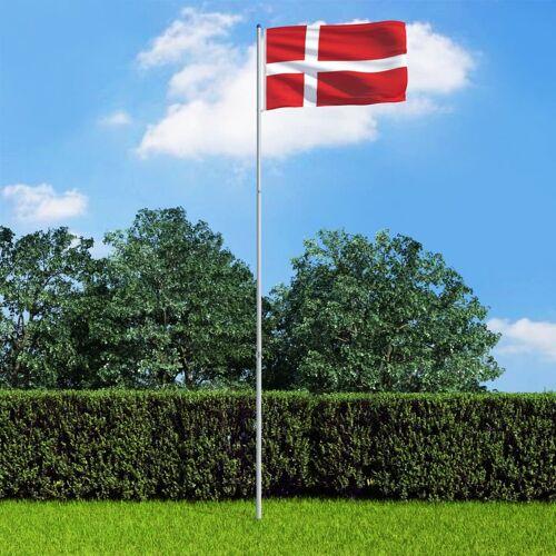 vidaXL Vlag met vlaggenmast Denemarken 6 m aluminium
