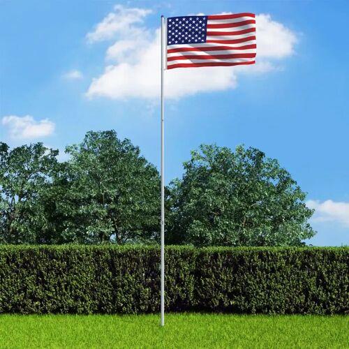 vidaXL Vlag met vlaggenmast Verenigde Staten 6 m aluminium