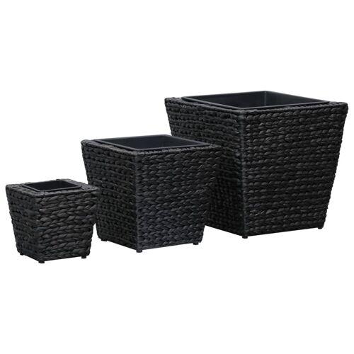 vidaXL Plantenbakken verhoogd 3 st waterhyacint zwart