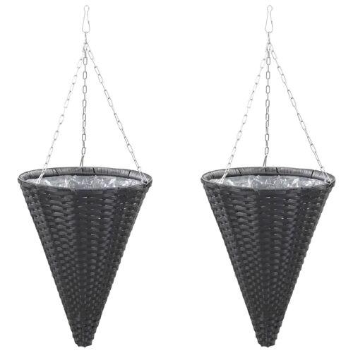 vidaXL Bloemenmanden hangend 2 st poly rattan zwart