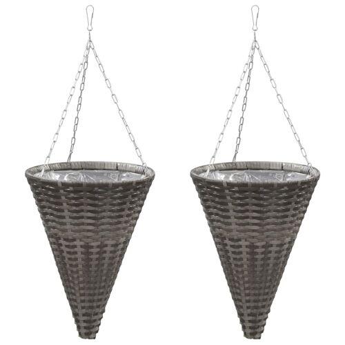 vidaXL Bloemenmanden hangend 2 st poly rattan grijs