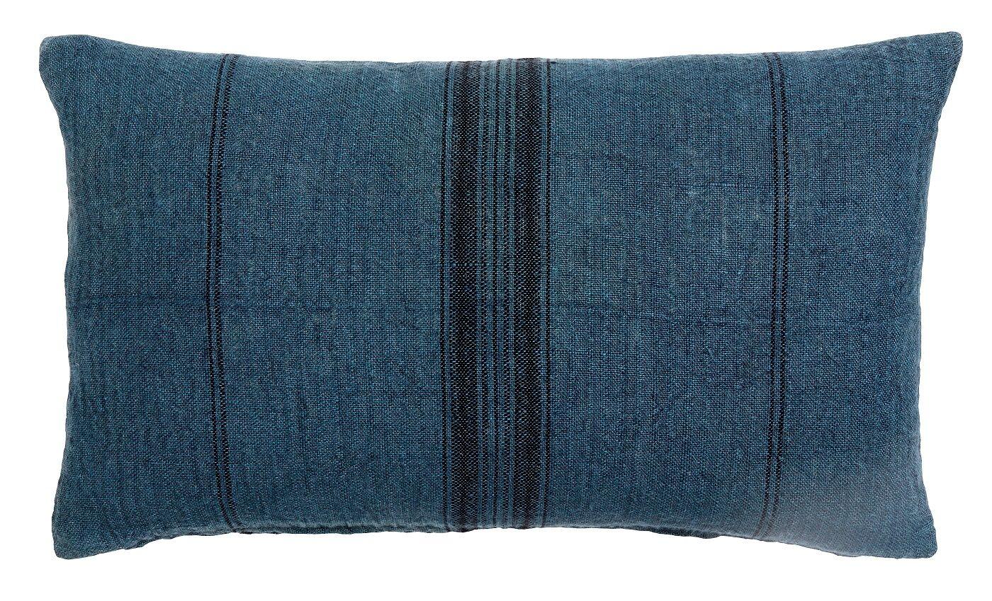 Nordal - Pute cover 65x40 - Blå m/sorte striber