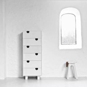 Karup - House Kommode m. 6 skuffer - Hvit/Hvit