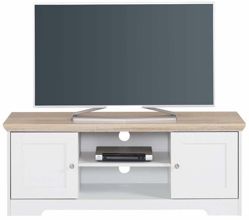 Unoliving Nancy TV-bord Hvit, Eike-look - 45x120
