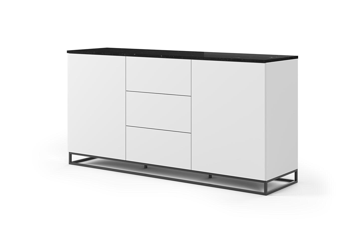 Temahome - Join 180H1 Skjenk m. metalben - Matt hvit/Svart marmor