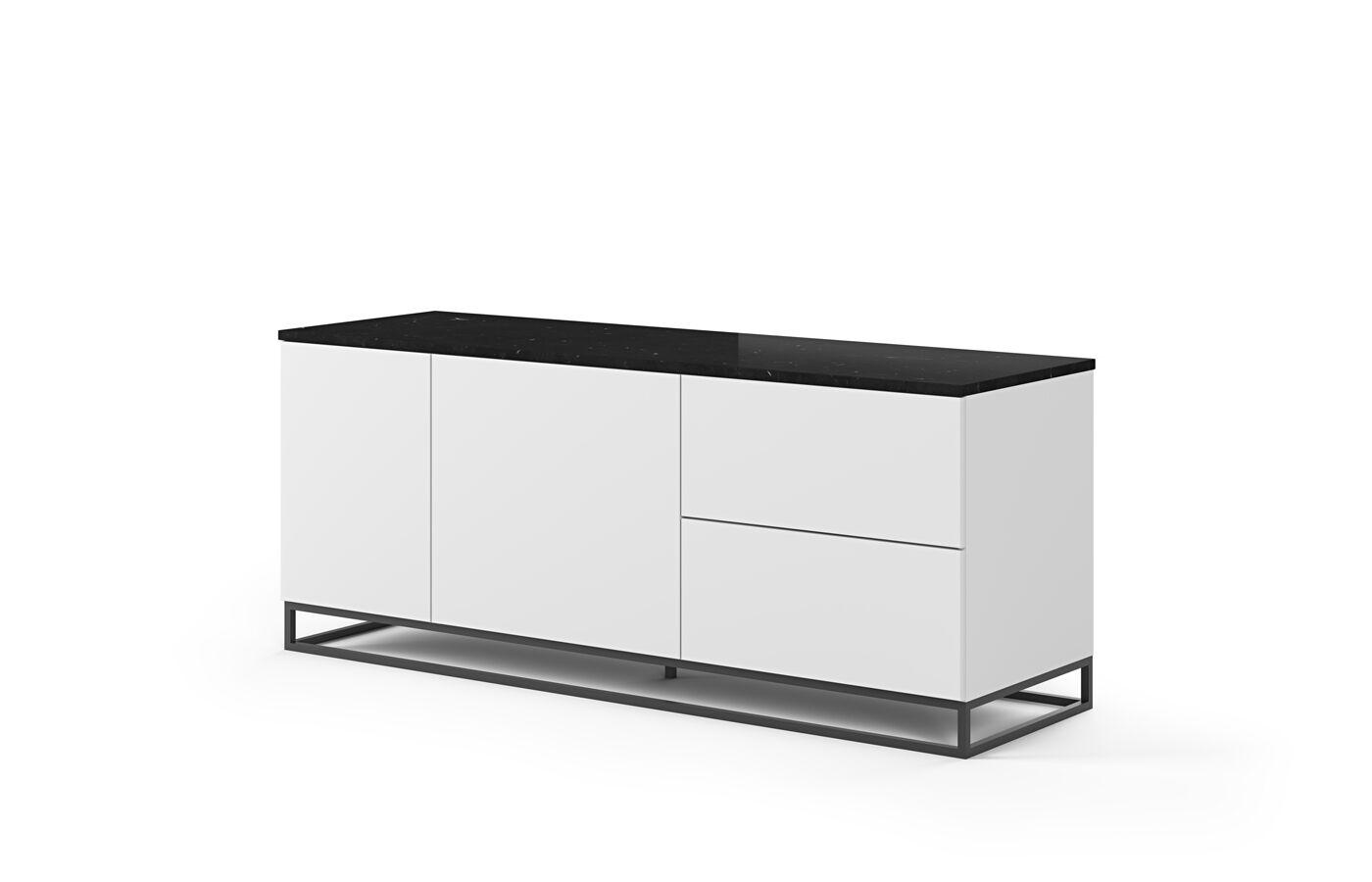 Temahome - Join 160L2 Skjenk m. metalben - Matt hvit/Svart marmor