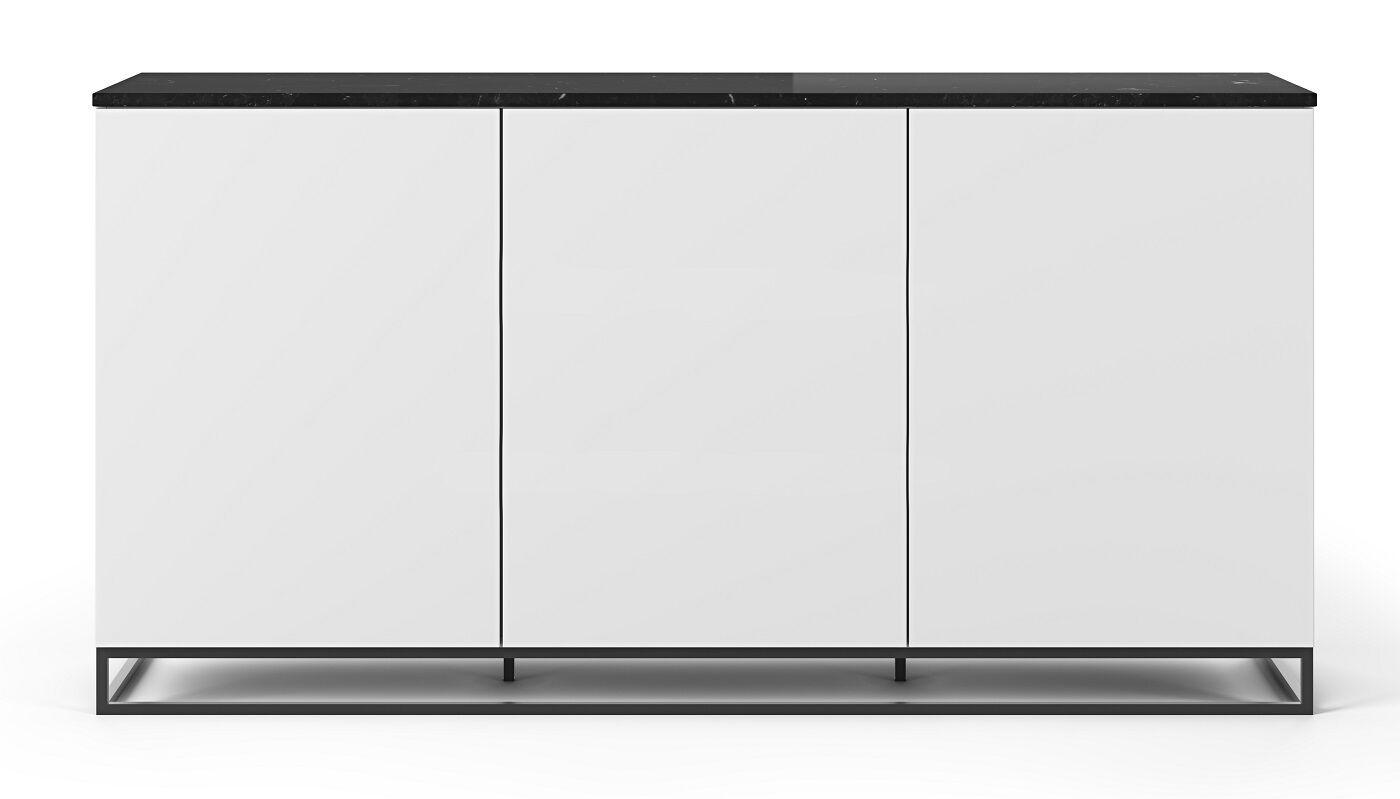 Temahome Join H2 Skænk - Mat Hvid/Sort Marmor