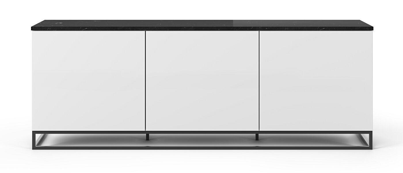 Temahome Join L2 Tvbord m. metalben - Mat Hvid/Sort Marmor