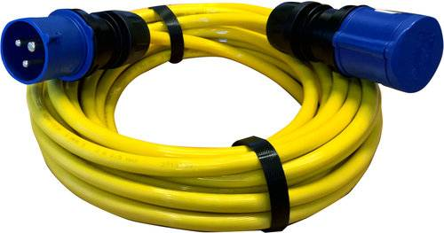 Skjøtekabel cee-kontakter gul 10m 2,5mm2