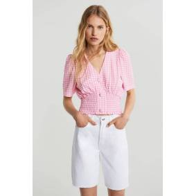 Gina Tricot Isabella top S Female Pink/gingham (3978)
