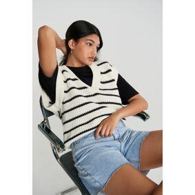 Gina Tricot Joanna knitted vest XL Female Black stripe (9782)