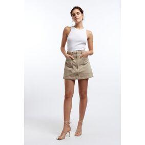 Gina Tricot Utility zip denim skirt 36 Female Sand