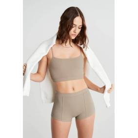 Gina Tricot Mindy high waist hotpants L Female Simply taupe (7954)