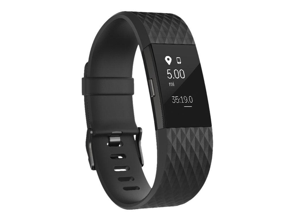 Fitbit Charge 2 - Special Edition - lagermetall - aktivitetssporer med bånd - svart - S - monokrom - Bluetooth - 32 g