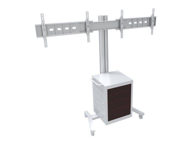 """MULTIBRACKETS M Public Display Stand 180 Dual MediaBox4 - Stativ for 2 LCD-skjermer - aluminium - sølv - skjermstørrelse: 40""""-60"""" -"""