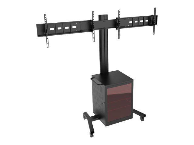"""MULTIBRACKETS M Public Display Stand 180 Dual MediaBox4 - Stativ for 2 LCD-skjermer - aluminium - svart - skjermstørrelse: 40""""-55"""" -"""
