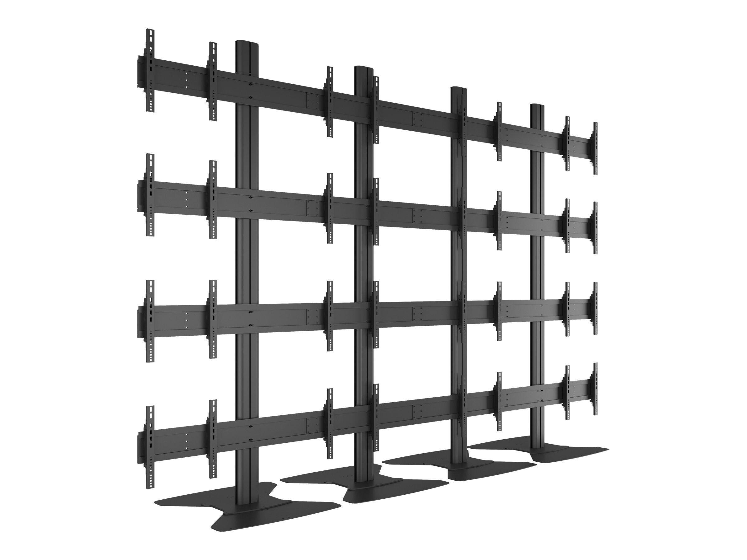 """MULTIBRACKETS M Public Video Wall Stand 16-Screens - Stativ for 16 LCD-skjermer - aluminium - svart - skjermstørrelse: 40""""-55"""" -"""