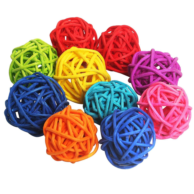 TRIXES 10PC sett flerfarget flettet Rattan baller DIY hjemmelaget dekorasj...