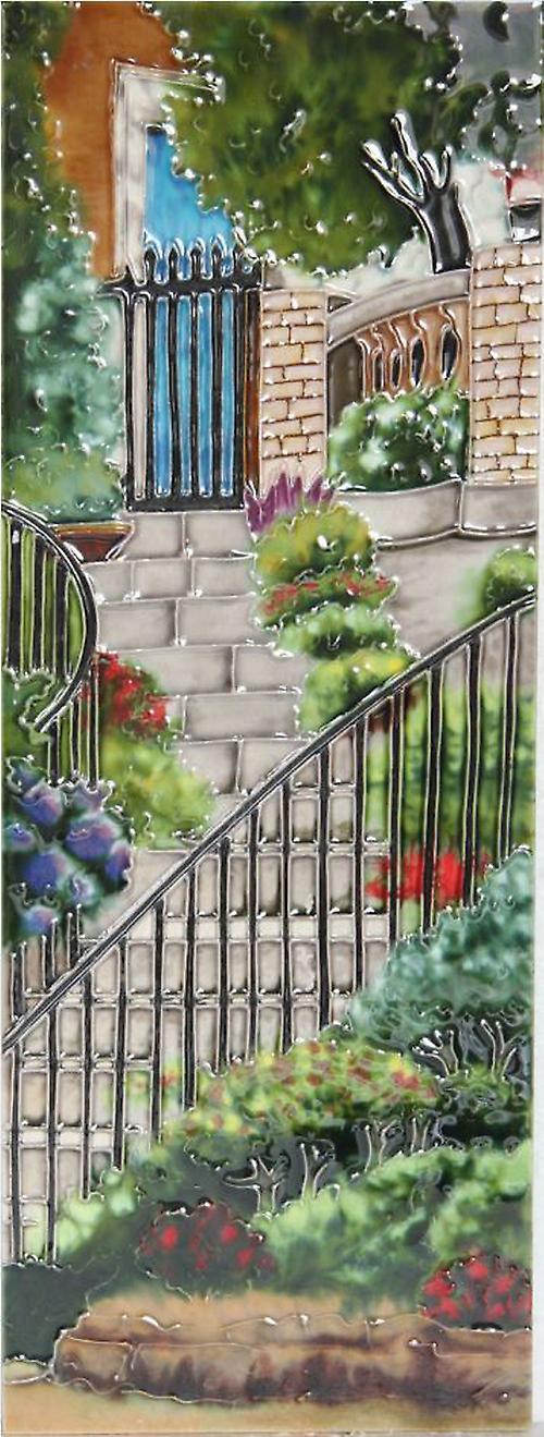YH Arts keramiske vegg kunst, hage trinn, Design 2 6 x 16