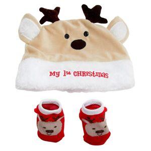 Nursery Time Barnehage tid min 1ste Christmas luen og sokker Krem/hvit/rød One Size