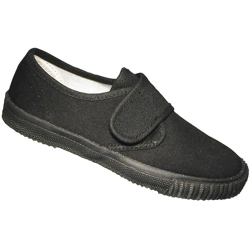 Mirak gutter tekstil Plimsoll Sneaker sko eske svart (stor) UK Size...
