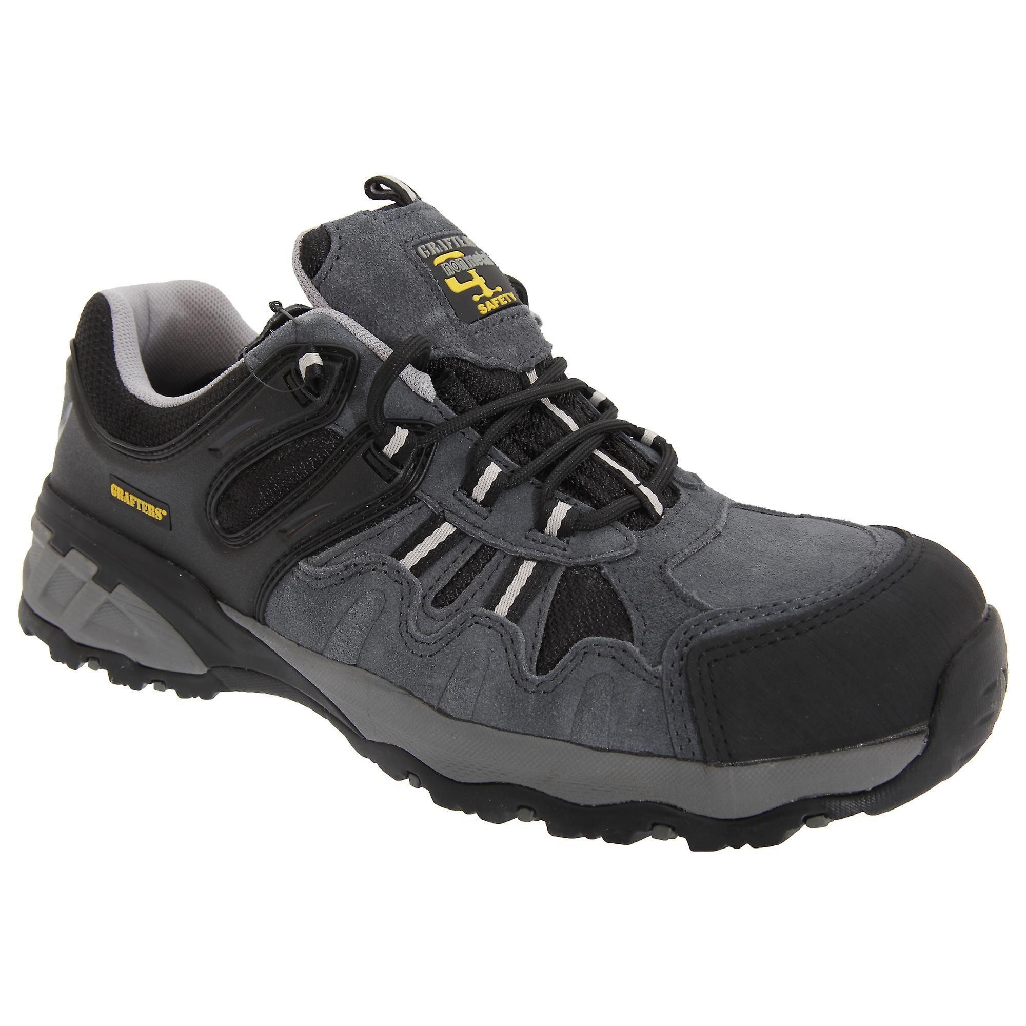 Grafters Mens fullt kompositt ikke-metall sikkerhet trener sko Grå/svart 39 EUR