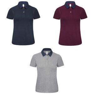 B&C B & C kvinners/Denim damer frem kort ermet Polo skjorte Denim / burgunder XS