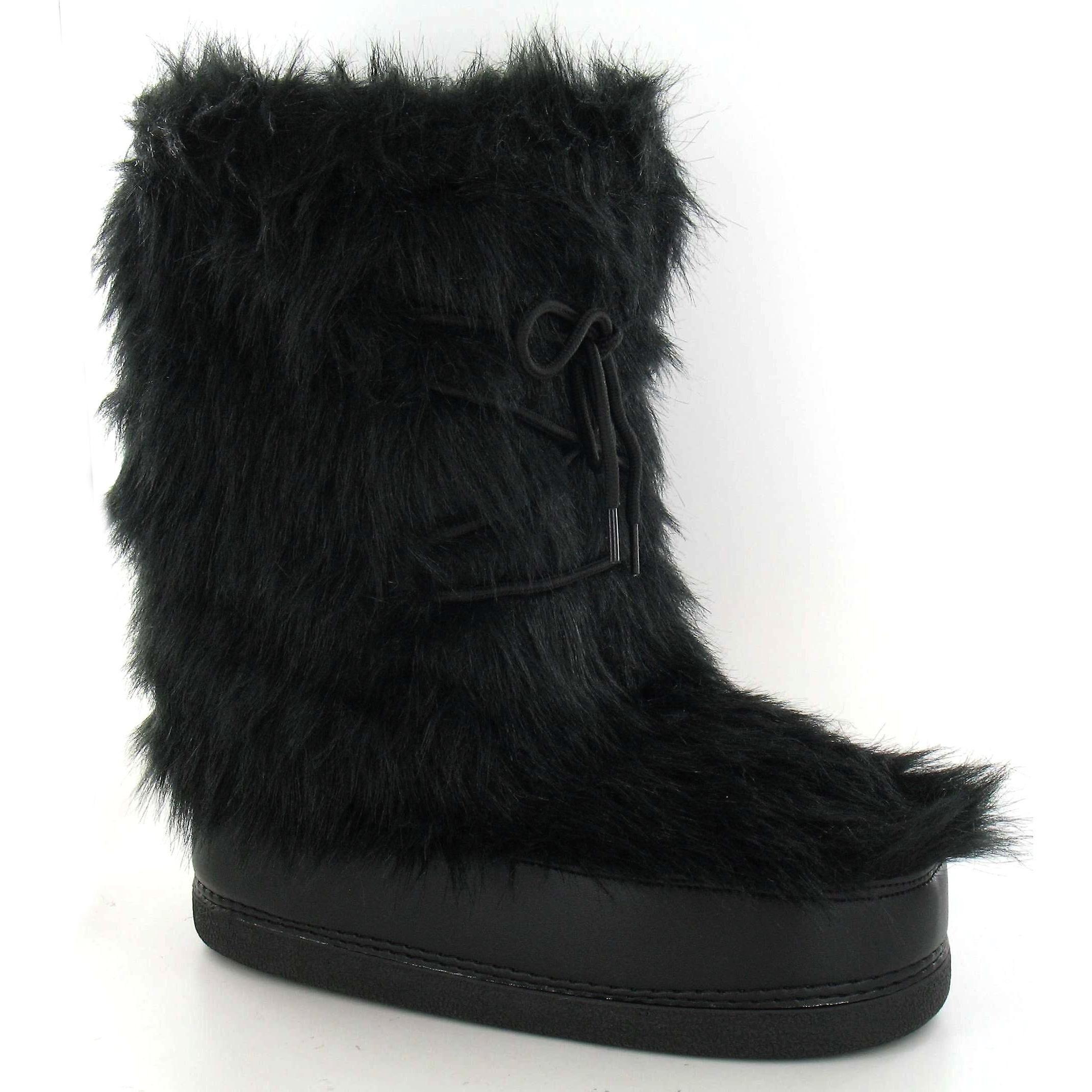 Reflex kvinners/damer Flat pels øvre snø støvler Svart 11/12 UK