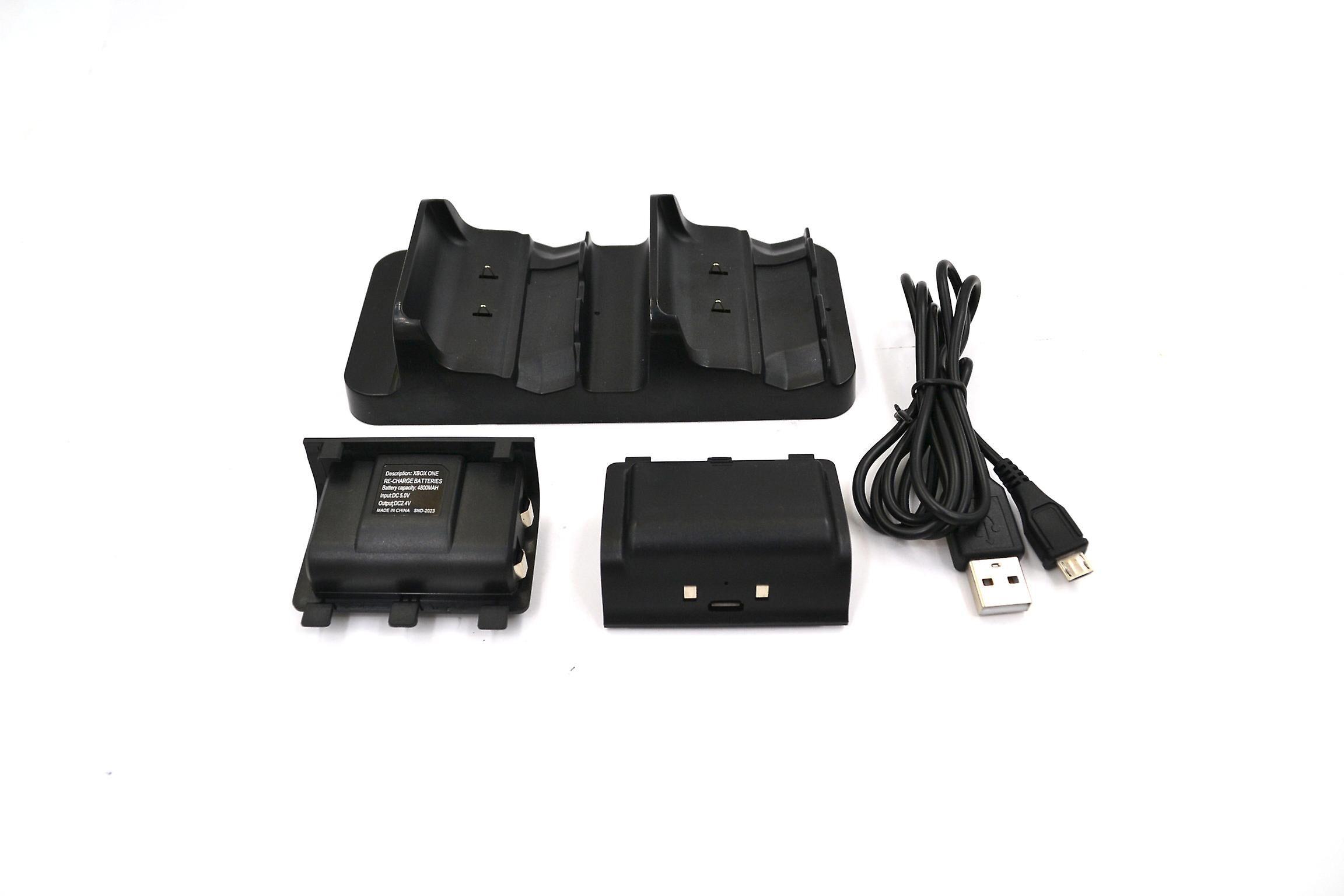 REYTID ladestasjon kompatibel med Xbox ONE S slanke doble trådløse kontrollere-svart-inkluderer 2 x 1200mAh oppladbare batterier-dokking dokk trådl...
