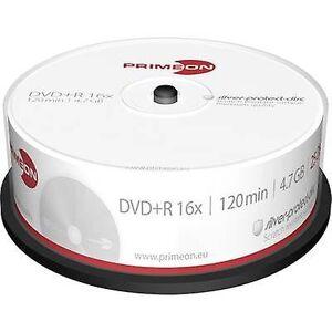 Primeon 2761223 blank DVD + R 4,7 GB 25 PC (er) spindel sølv matt overflate