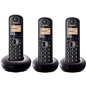 Panasonic KXTGB213EB Digital tre håndsett svart trådløs telefon med LCD-skjerm