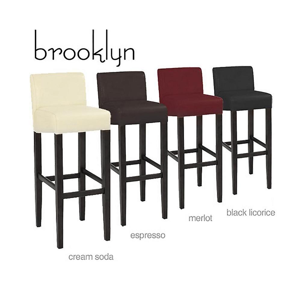 MODERNHOME Brooklyn moderne tre/Faux skinn Barstool Svart lakris No Size