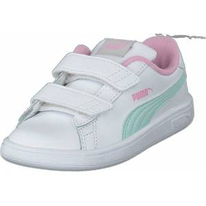 Puma Puma Smash V2 L Inf Puma White-fair Aqua-pale Pink, Sko, Sneakers og Treningssko, Lave Sneakers, Hvit, Barn, 25