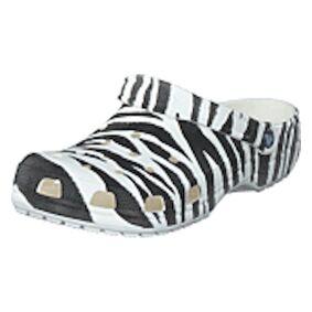 Crocs Classic Animal Print Clog White/zebra Print, Shoes, grå, EU 41/42