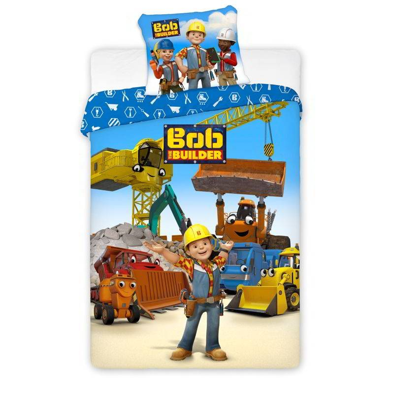 Kids Group Junior Bed Linen Bob The Builder 100 cm x 140 cm + 40 cm x 45 cm Sengetøy