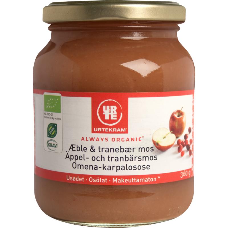 Urtekram Eple & Tranebærmos Øko 360 g Puré