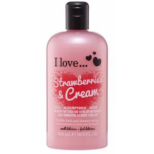 I Love Cosmetics Bath & Shower Creme Strawberries & Cream 500 ml Dusjsåpe
