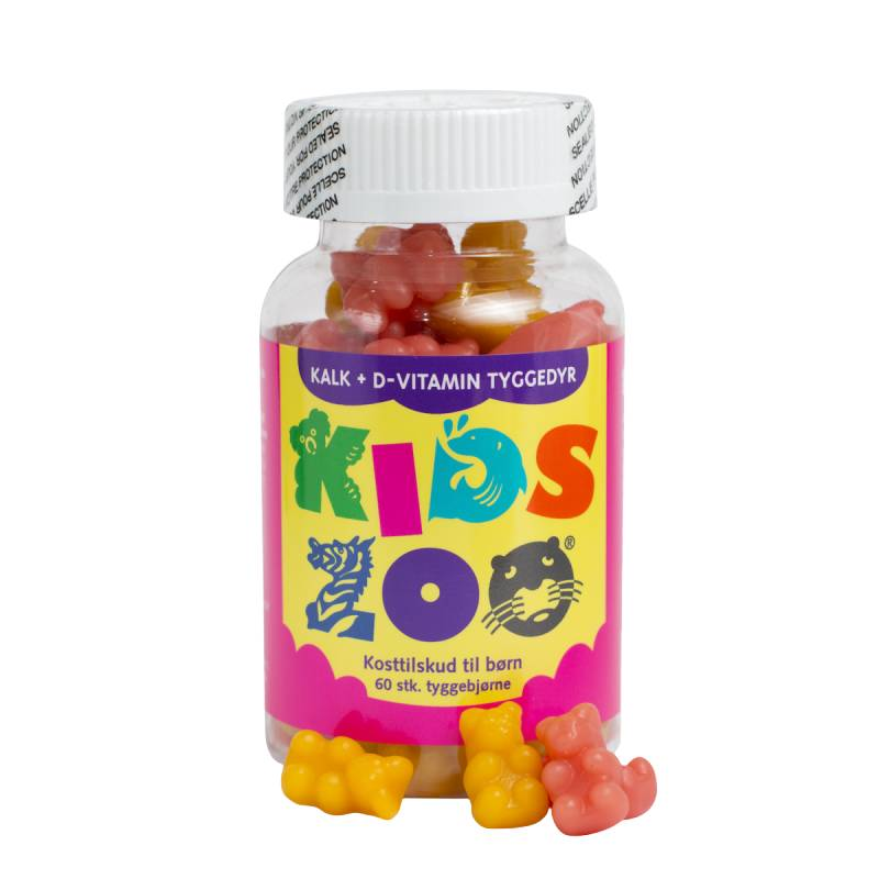 Kids Zoo Kalk + D Gummidyr 60 stk Vitaminpiller