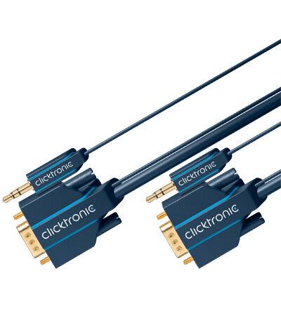 ClickTronic VGA med stereo lydadapter 10 meter