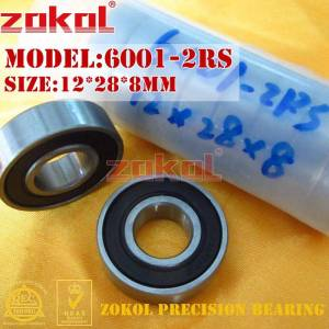 ZOKOL 6001RS bearing 6001 2RS 180101 6001-2RS Deep Groove ball bearing 12*28*8mm