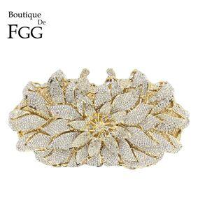 Boutique De FGG Dazzling Crystal Women Evening Metal Clutches Bag Hardcase Wedding Party Flower Bridal Handbag Clutch Purse