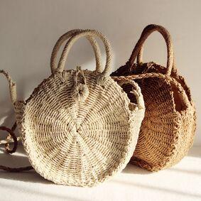 ABHC Bohemian Handmade Large Basket Handbag Women Straw Woven Bag Girls Beach Handbag Shoulder Cross bags for women 2020