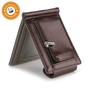 BONAMIE Vintage Men Wallet Short Money Clip Wallet Metal Leather Slim Male Card Purse Organizer Minimalist Carteras Hombre New